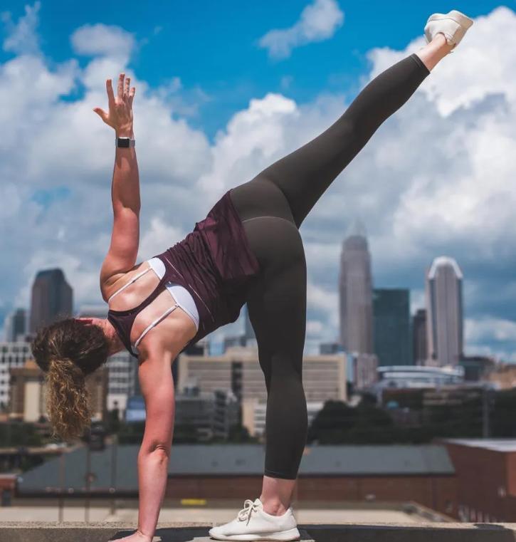 The side angle pose with a yoga brick