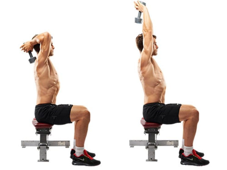 Triceps extensions with a dumbbell
